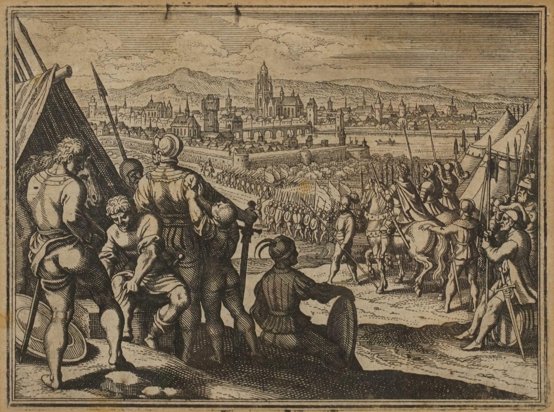 Matthäus Merian, Fünf Kupferstiche mit Schlachtenszenen - Bild 2 aus 6