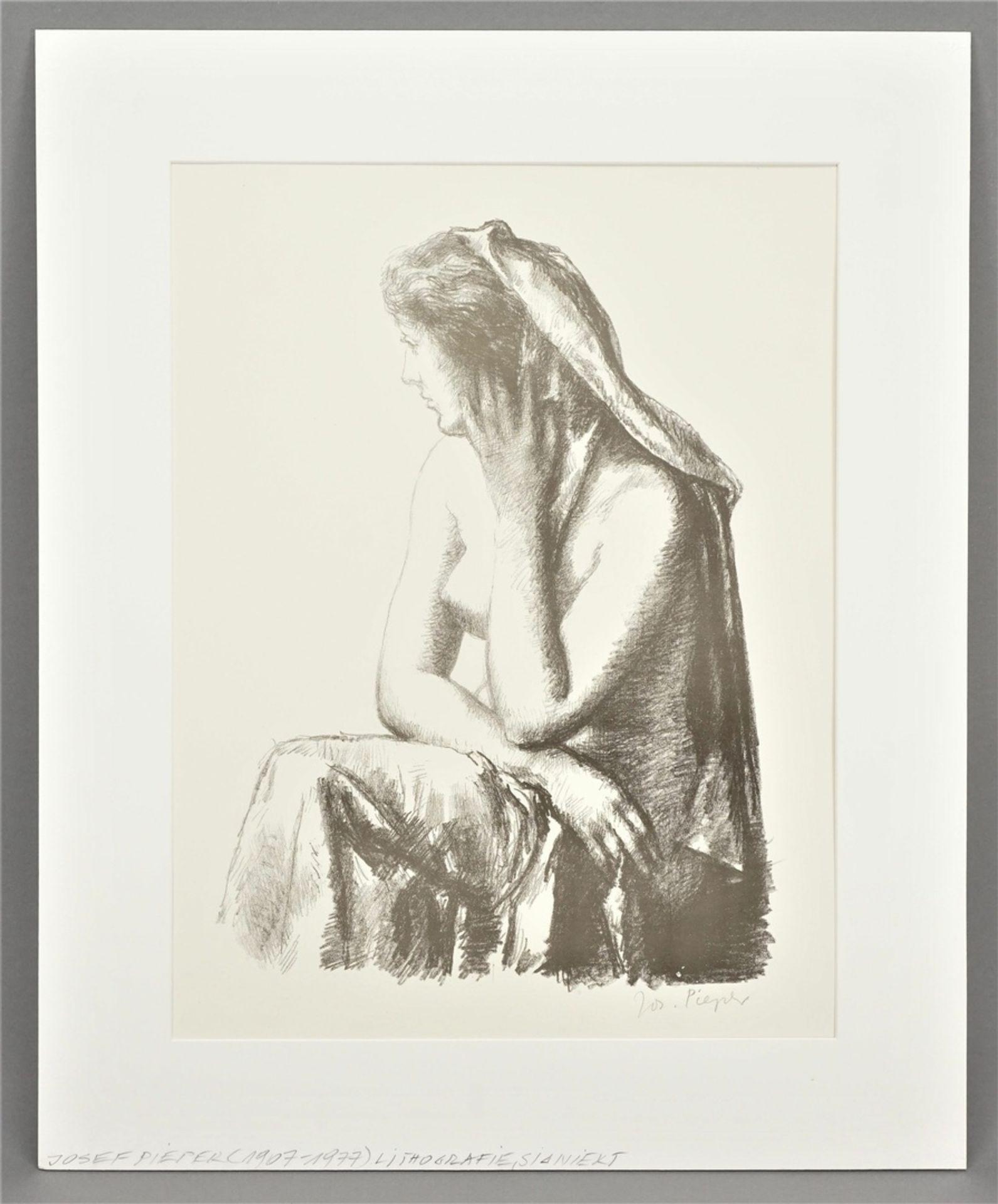 Josef Pieper, Sitzender weiblicher Halbakt mit Tuch - Bild 2 aus 4
