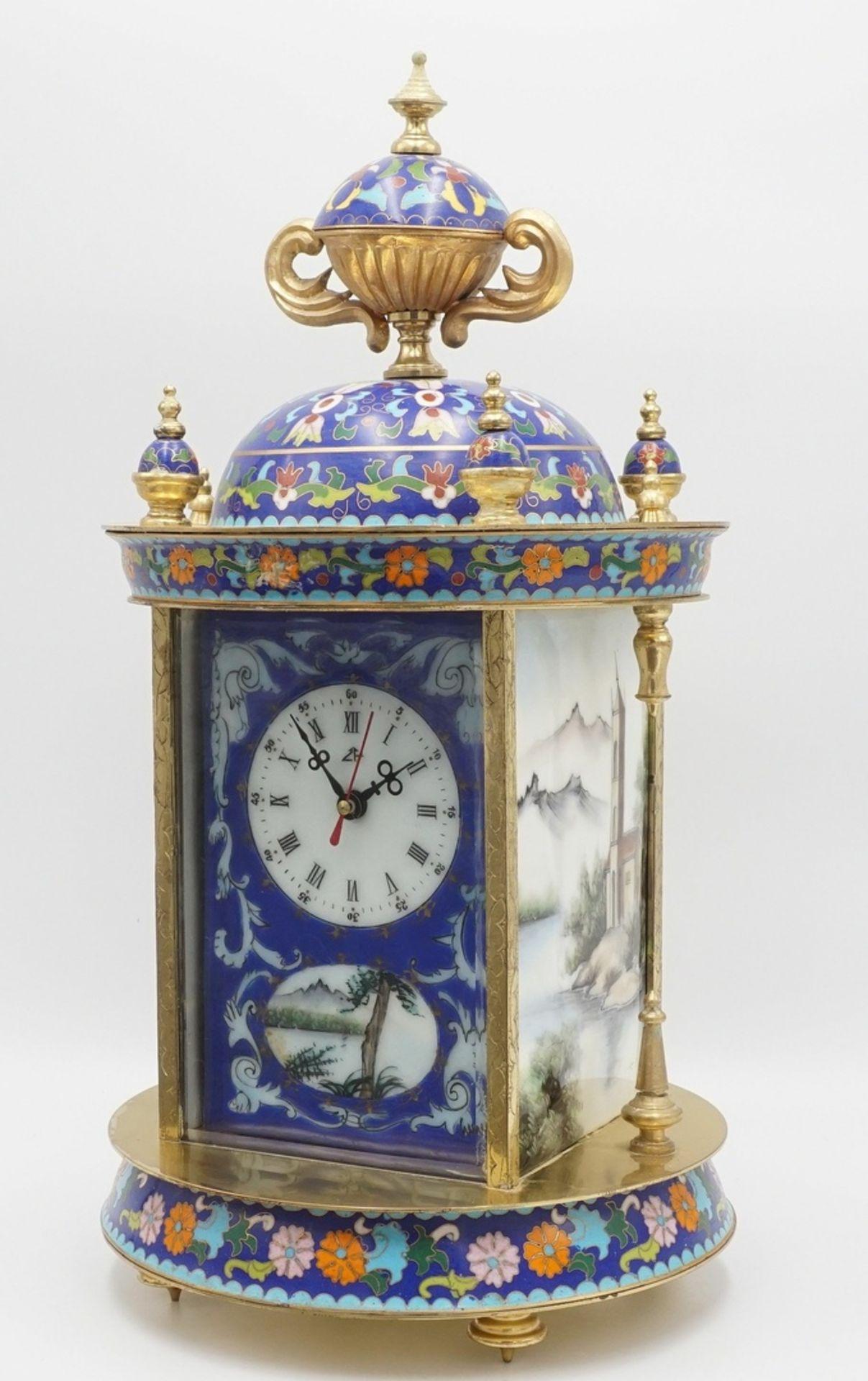 Orientalische Cloisonné Tischuhr, 2. Hälfte 20. Jh.