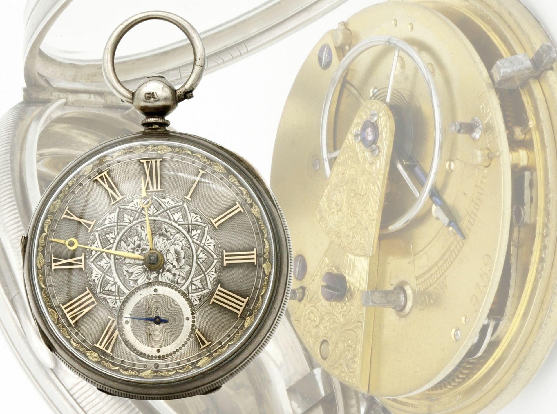 Aufwendig verzierte englische Silbertaschenuhr, um 1870