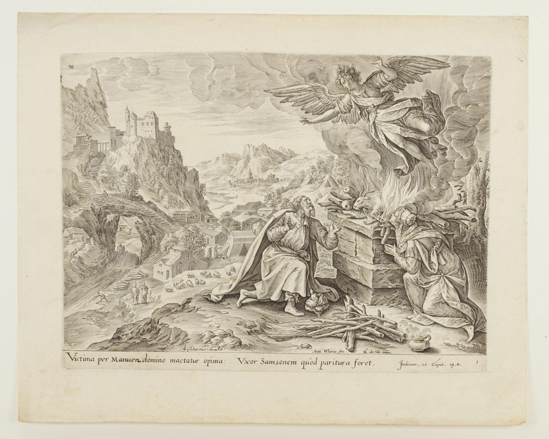 """Anton III Wierix, """"Victima per Manuen, domino mactatur opima..."""" (Der Engel entfernt sich von ... - Bild 3 aus 3"""