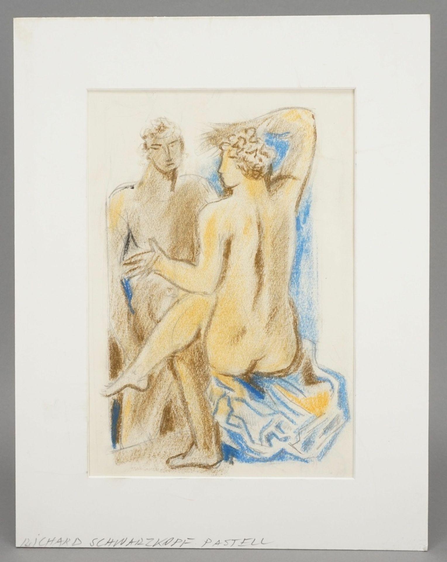 Richard Schwarzkopf, Paar mit blauem Tuch - Bild 2 aus 4