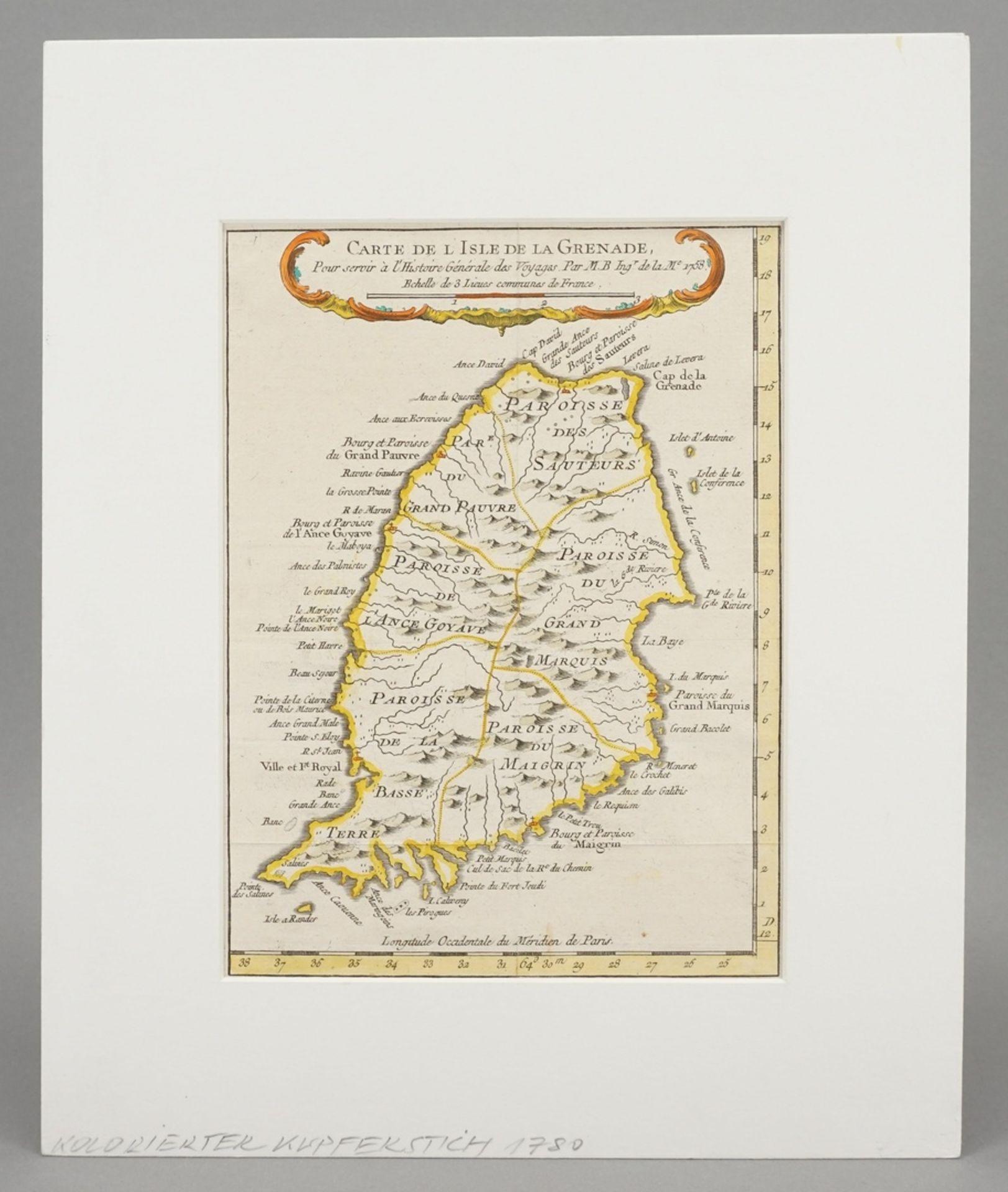 """Jacques-Nicolas Bellin, """"Carte de l'Isle de la Grenade"""" (Landkarte der Insel Grenada, Kleine ... - Bild 2 aus 3"""