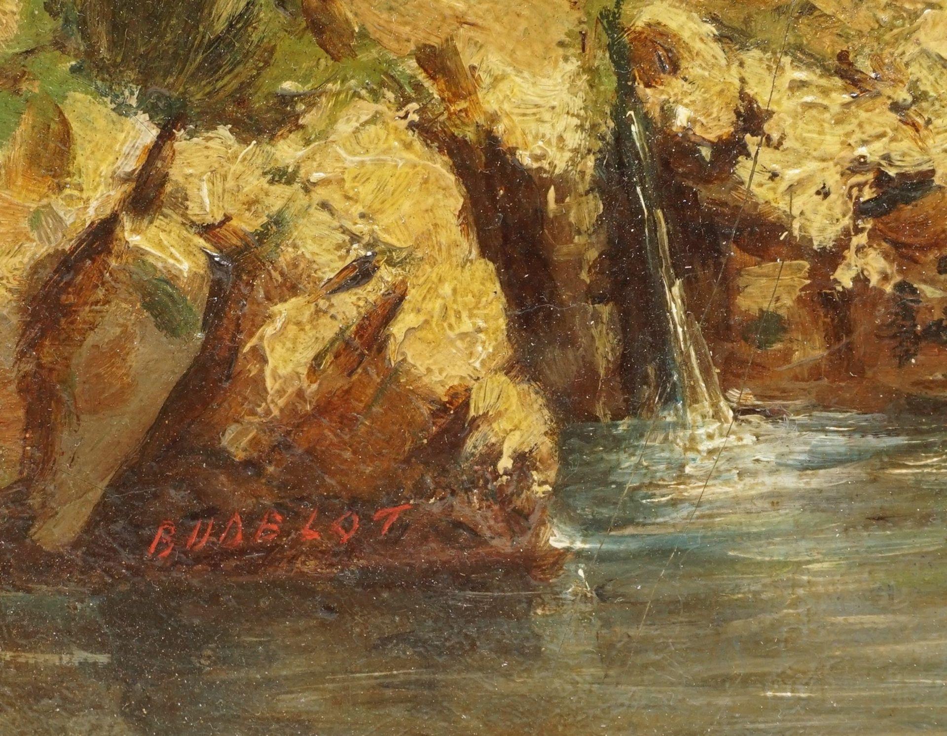 """Französischer Landschaftsmaler, sign. Budelot, """"Kleiner Flusslauf in Südfrankreich"""" - Bild 4 aus 4"""