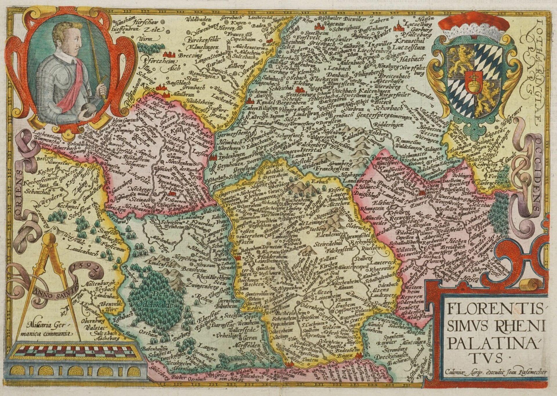 """Mat(t)hias Quad, """"Florentissimus Rheni Palatinatus"""" (Landkarte von Rheinpfalz, Odenwald und ..."""