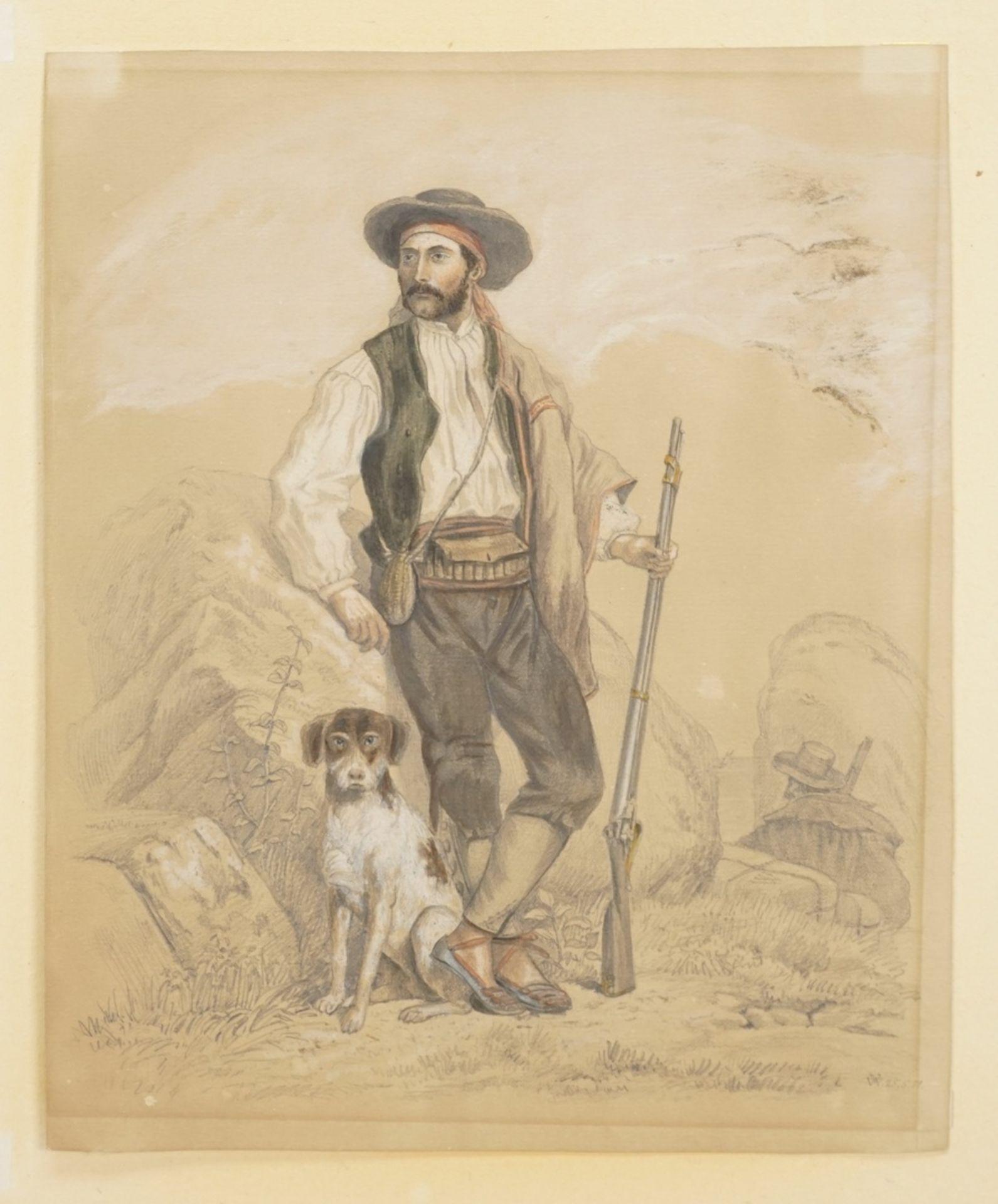 """Monogrammist V.W., """"Südlicher Jäger mit Hund und Gewehr"""" - Bild 3 aus 4"""
