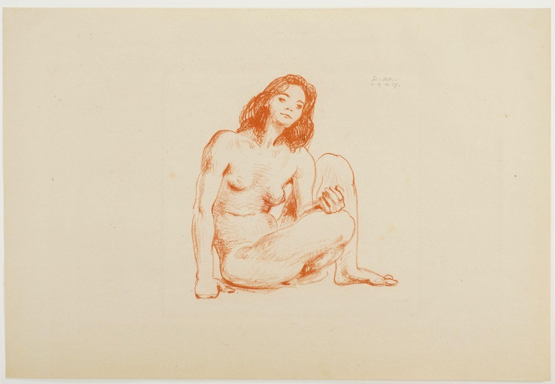 """Richard Scheibe, """"Sitzender weiblicher Akt"""" - Bild 3 aus 4"""