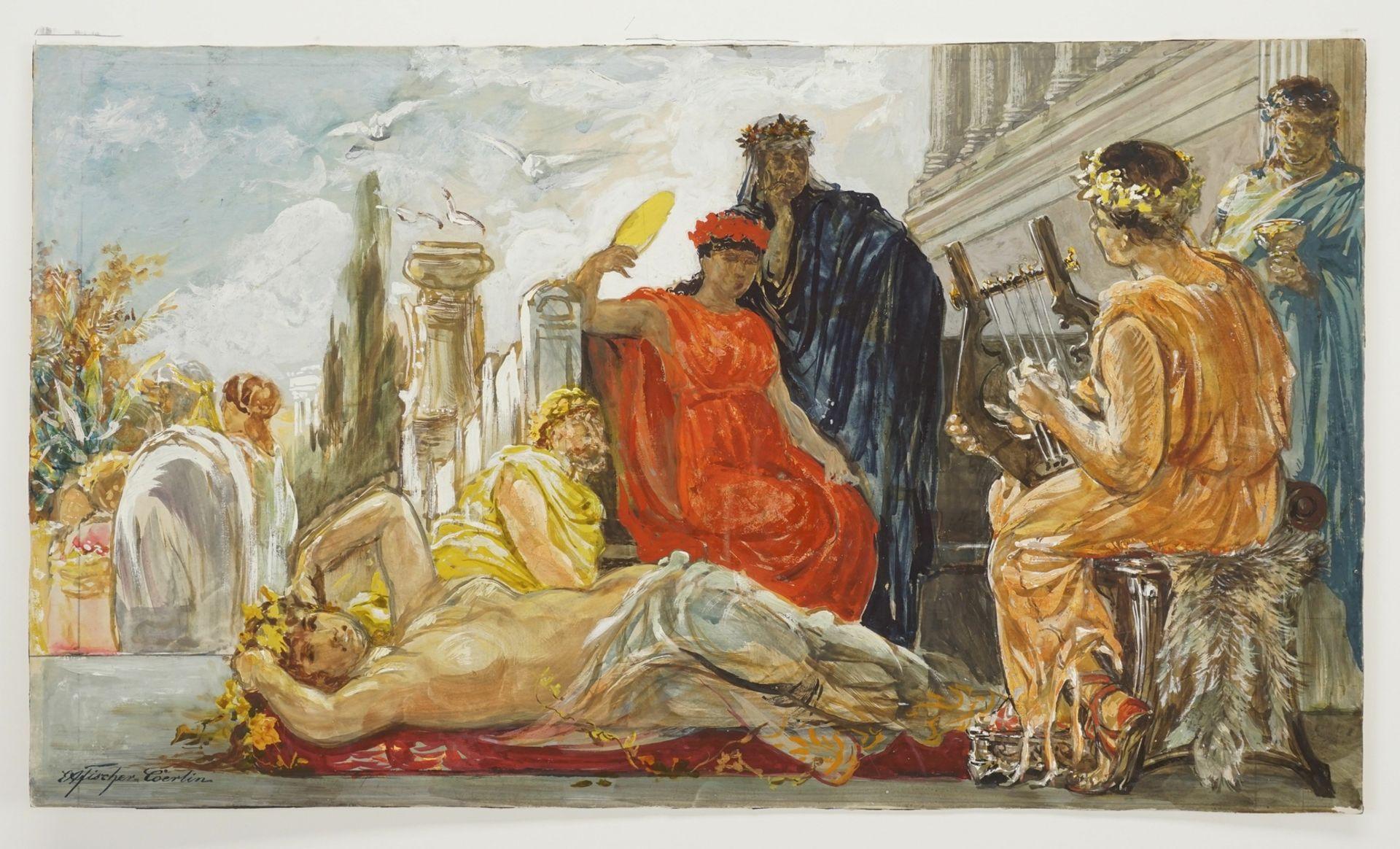 Ernst Albert Fischer-Cörlin, Römer der Endzeit (Gelage) - Bild 3 aus 4