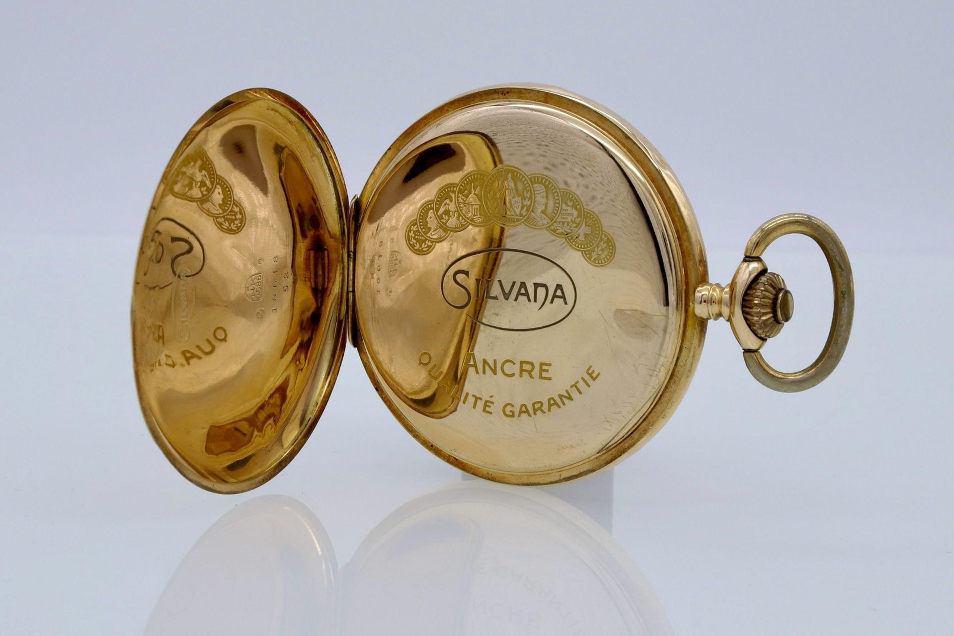 Silvana goldene Savonnette / Taschenuhr, um 1920 - Bild 4 aus 5