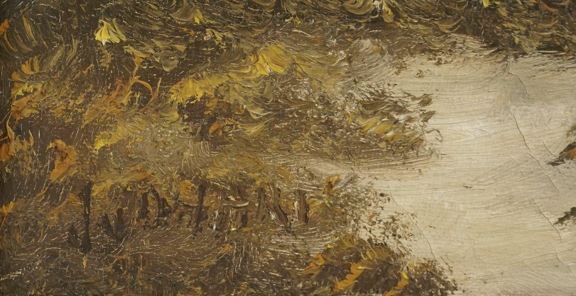Unbekannter Künstler, Herbstliche Flusslandschaft - Bild 4 aus 4