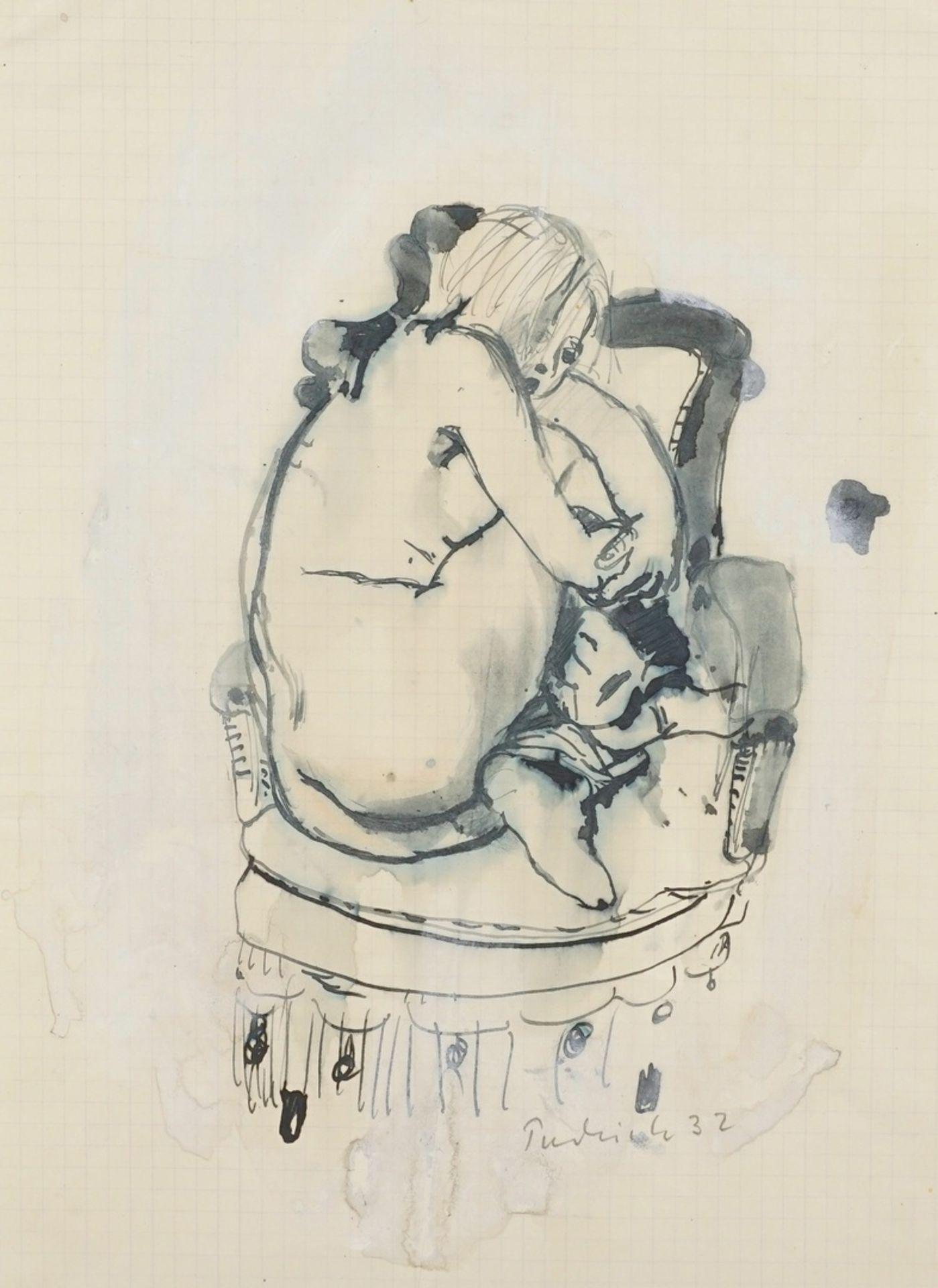 Robert Pudlich, Kauernder Frauenakt auf einem Fauteuil
