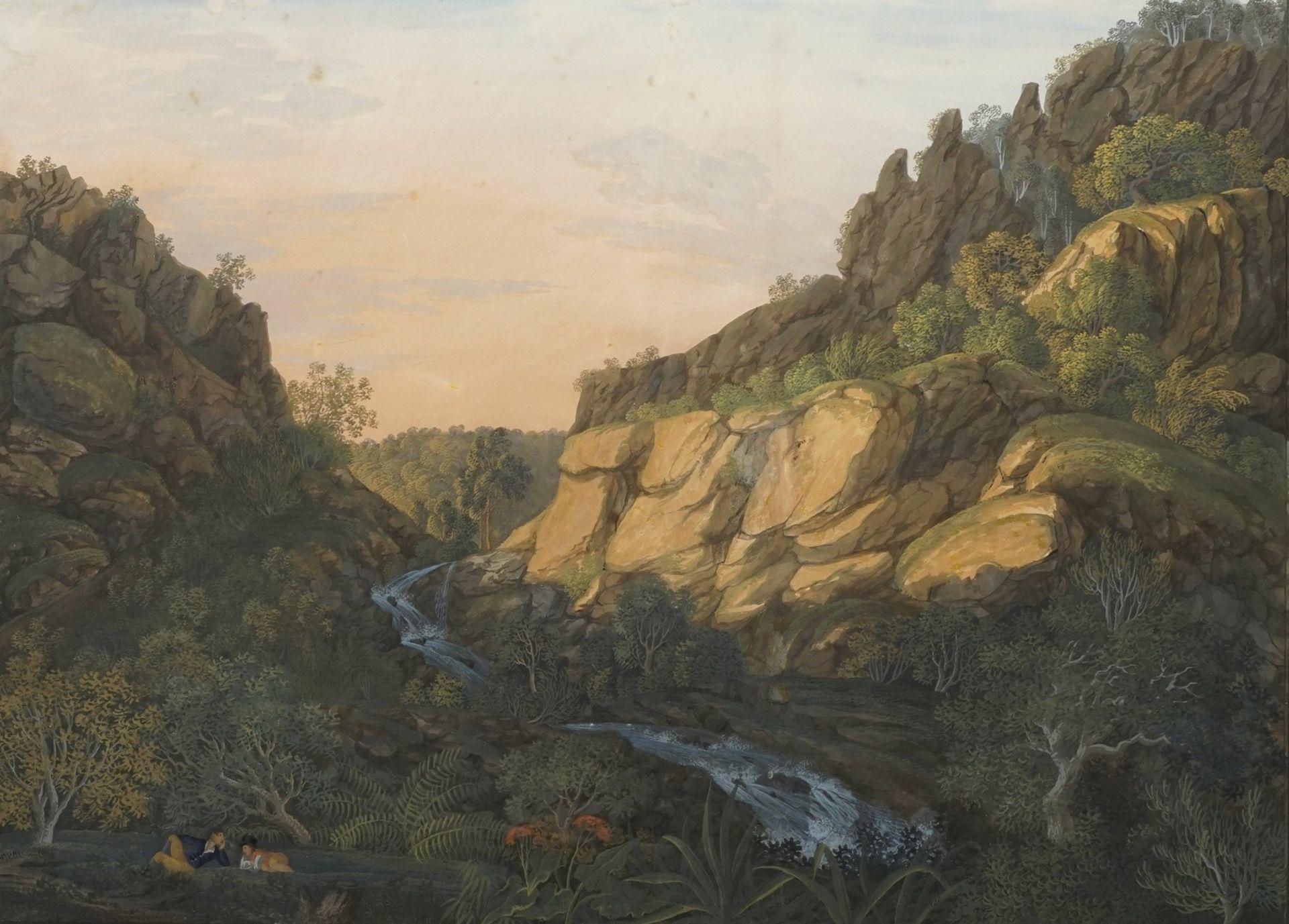 """Anton Radl, """"Der Wasserfall bei dem Stuffenberge auf dem Unterharz"""""""