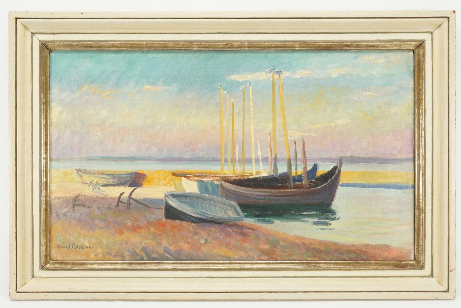 """Oswald Petersen, """"Strand mit Fischerkähnen im Abendrot"""" - Bild 2 aus 4"""