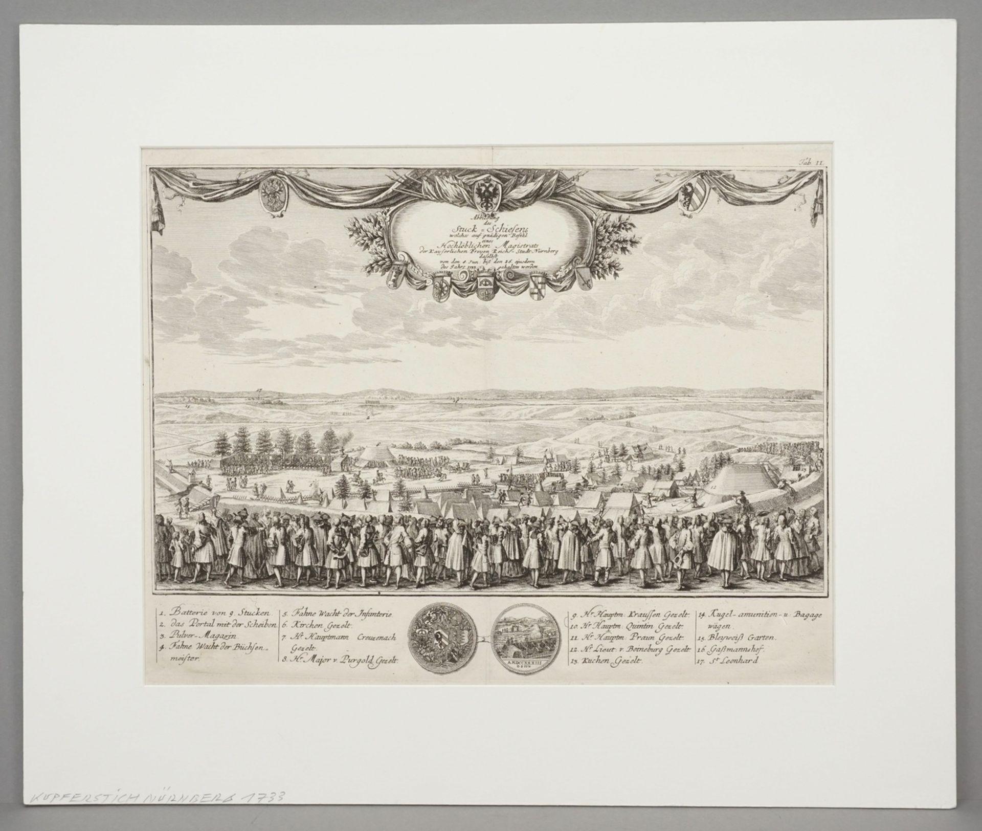 """Johann Christoph Weigel, """"Abbildung des Stuck-Schiesens welches auf gnädigen Befehl eines ... - Bild 2 aus 3"""