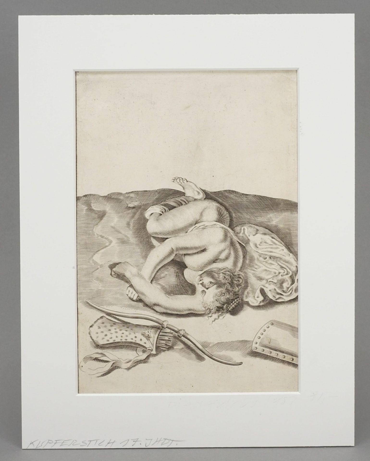 Gerard de Lairesse, Studienblatt zur optischen Verkürzung (Liegende als Nymphe der Diana) - Bild 2 aus 4