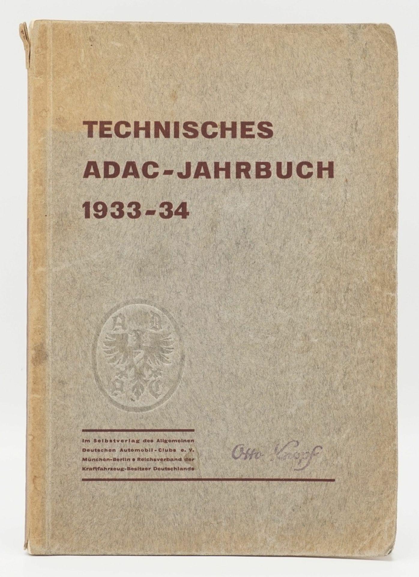 """Allgemeiner Deutscher Automobil-Club e.V. München-Berlin, """"Technisches ADAC-Jahrbuch 1933-34"""""""