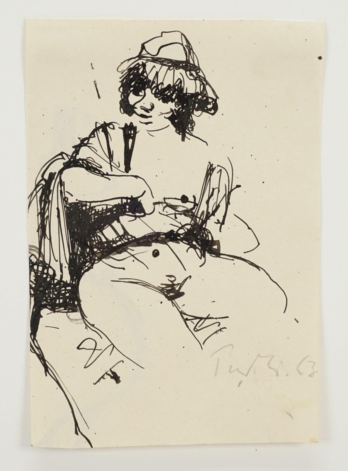Robert Pudlich, Sitzender weiblicher Akt mit Hut - Bild 3 aus 4
