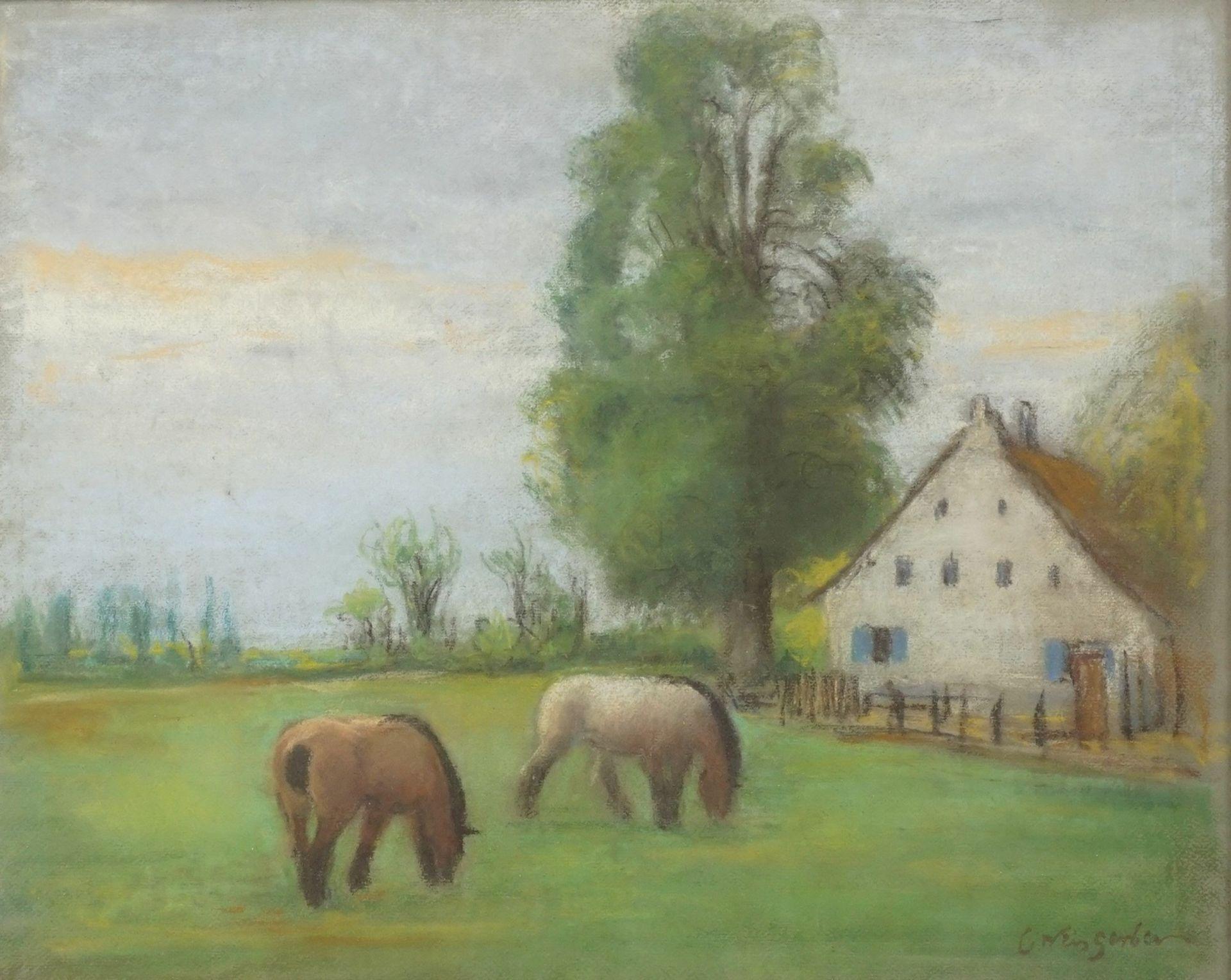"""Carl Weisgerber, """"Gutshof mit grasenden Fjordpferden"""""""