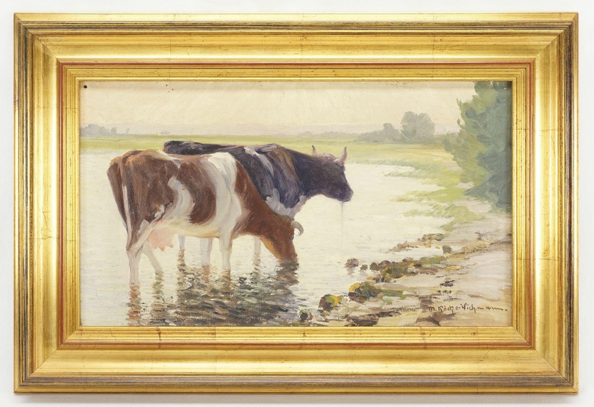 """Max Köcke-Wichmann, """"Rast der Kühe am Seeufer"""" - Bild 2 aus 4"""