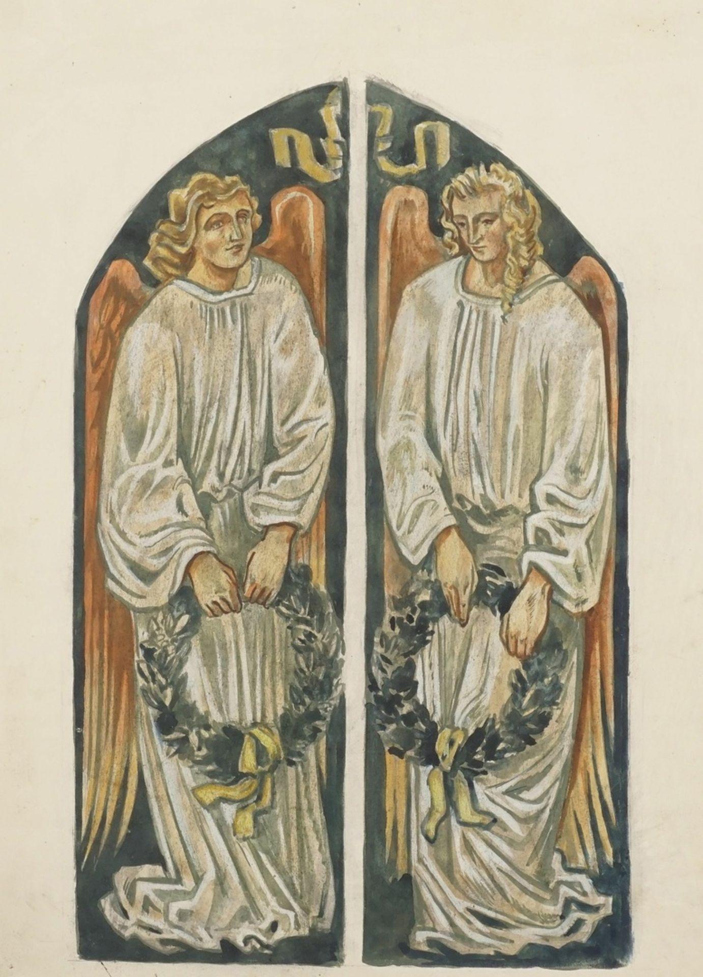 Richard Schwarzkopf, Zwei Engel mit Lorbeerkränzen