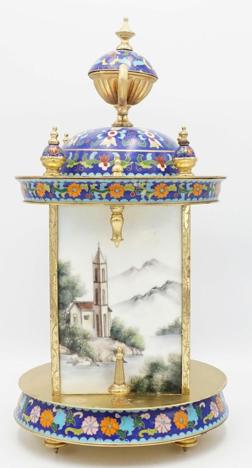 Orientalische Cloisonné Tischuhr, 2. Hälfte 20. Jh. - Bild 2 aus 5