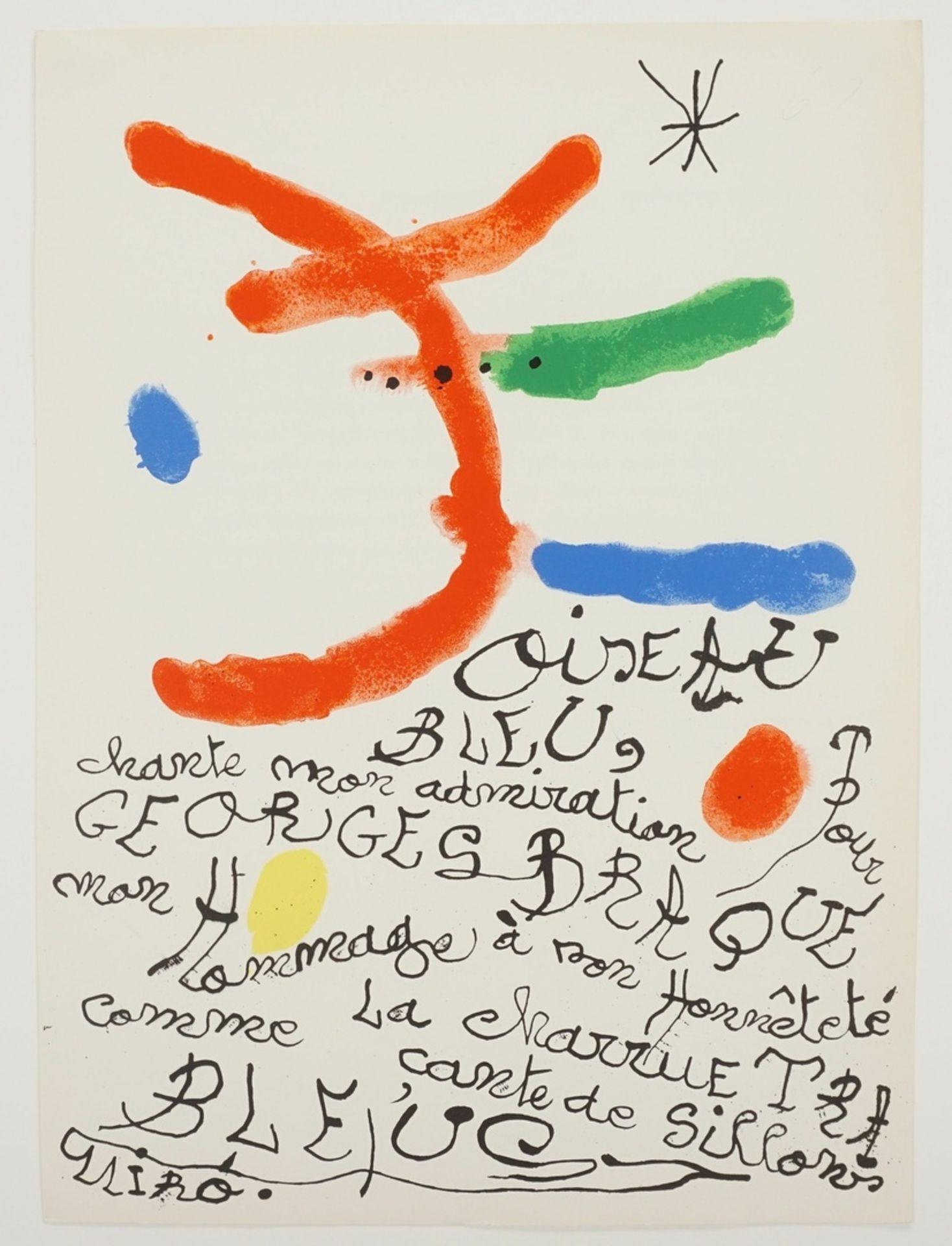 """Joan Miró, """"Oiseau bleu"""" (Hommage à Georges Braque) - Bild 3 aus 4"""