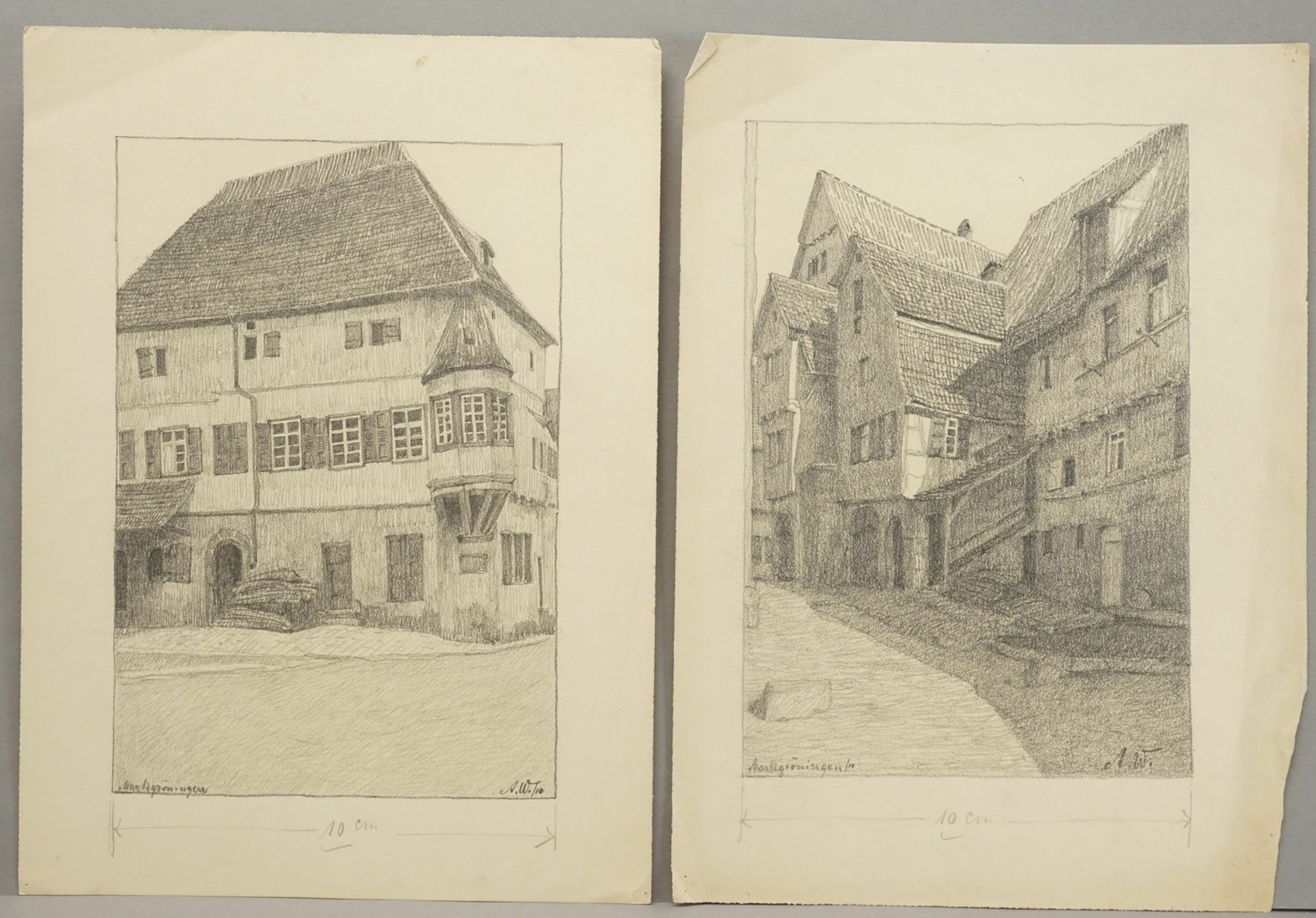 Sechs Handzeichnungen zu fränkischen Orten - Bild 3 aus 4