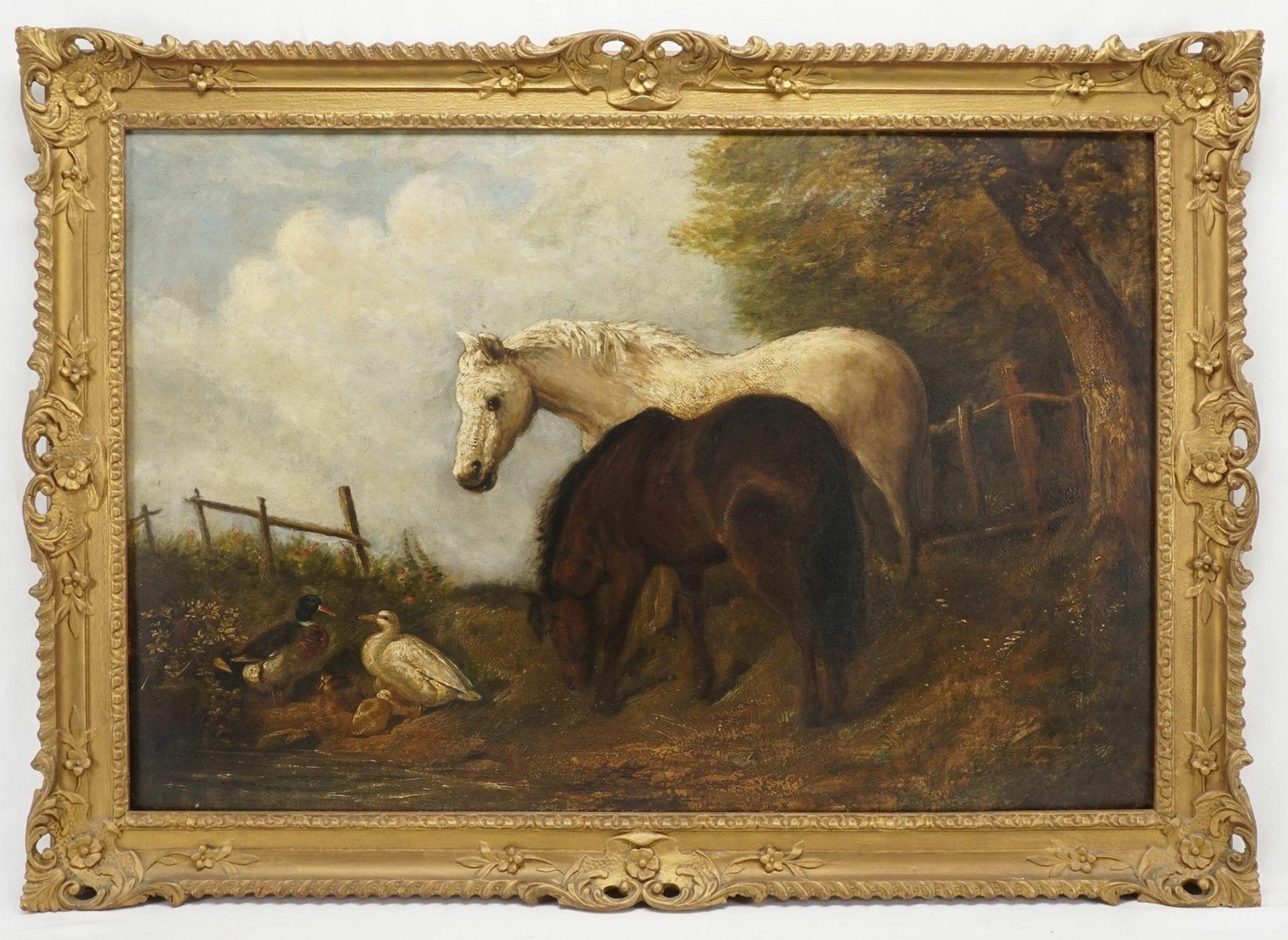 """Englische Schule, """"Zwei Pferde und zwei Enten"""" - Bild 2 aus 3"""