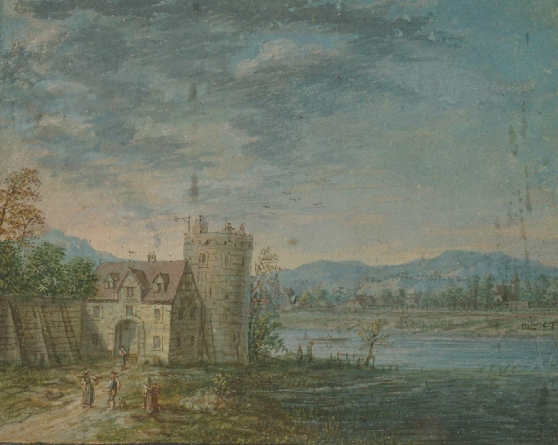 "Wohl Jacob Bürgi, ""Wehrturm mit Flusslandschaft"""