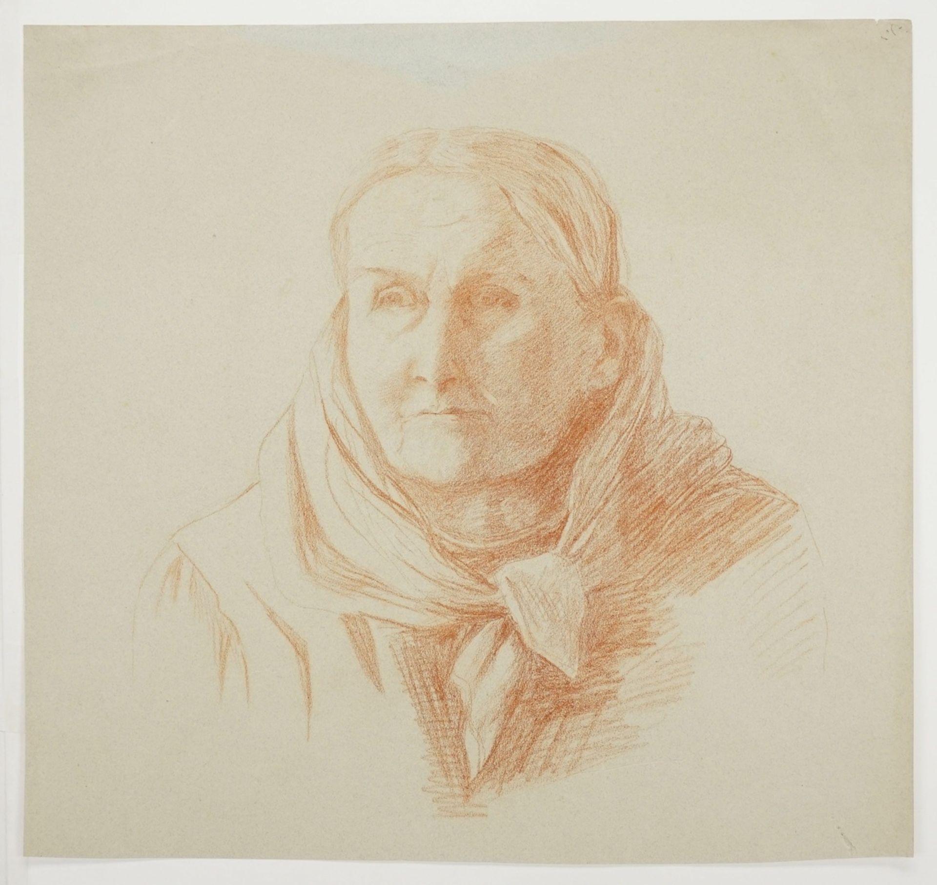 """Unbekannter Genremaler, """"Portrait einer älteren Dame mit Schaltuch"""" - Bild 3 aus 3"""