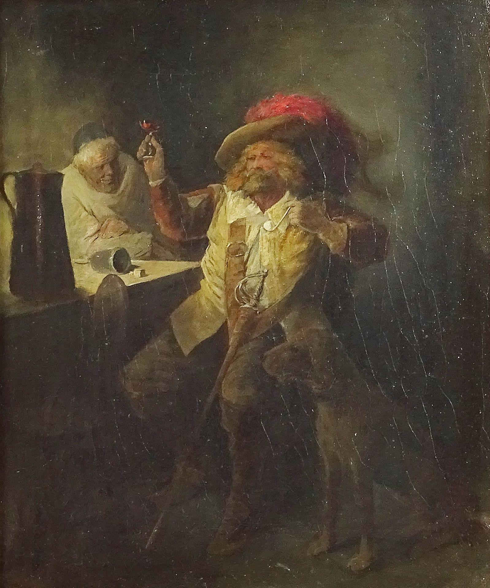 Ernst Juch, Gasthausszene (Edelmann und Mönch beim Würfelspiel) - Bild 2 aus 4