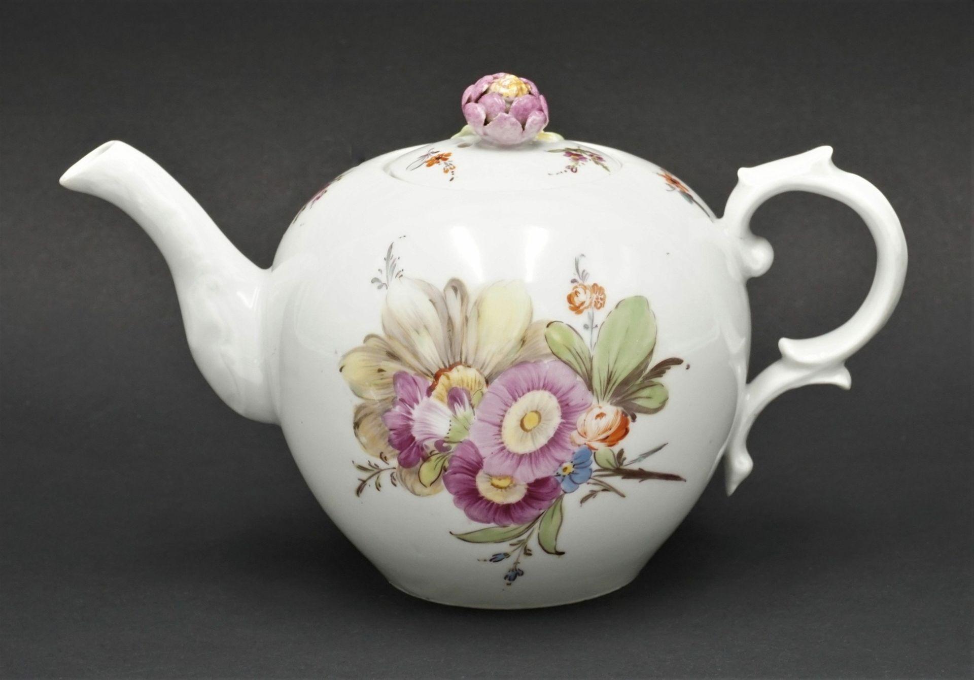 Fürstenberg Teekanne mit Blumenmalerei - Bild 2 aus 4