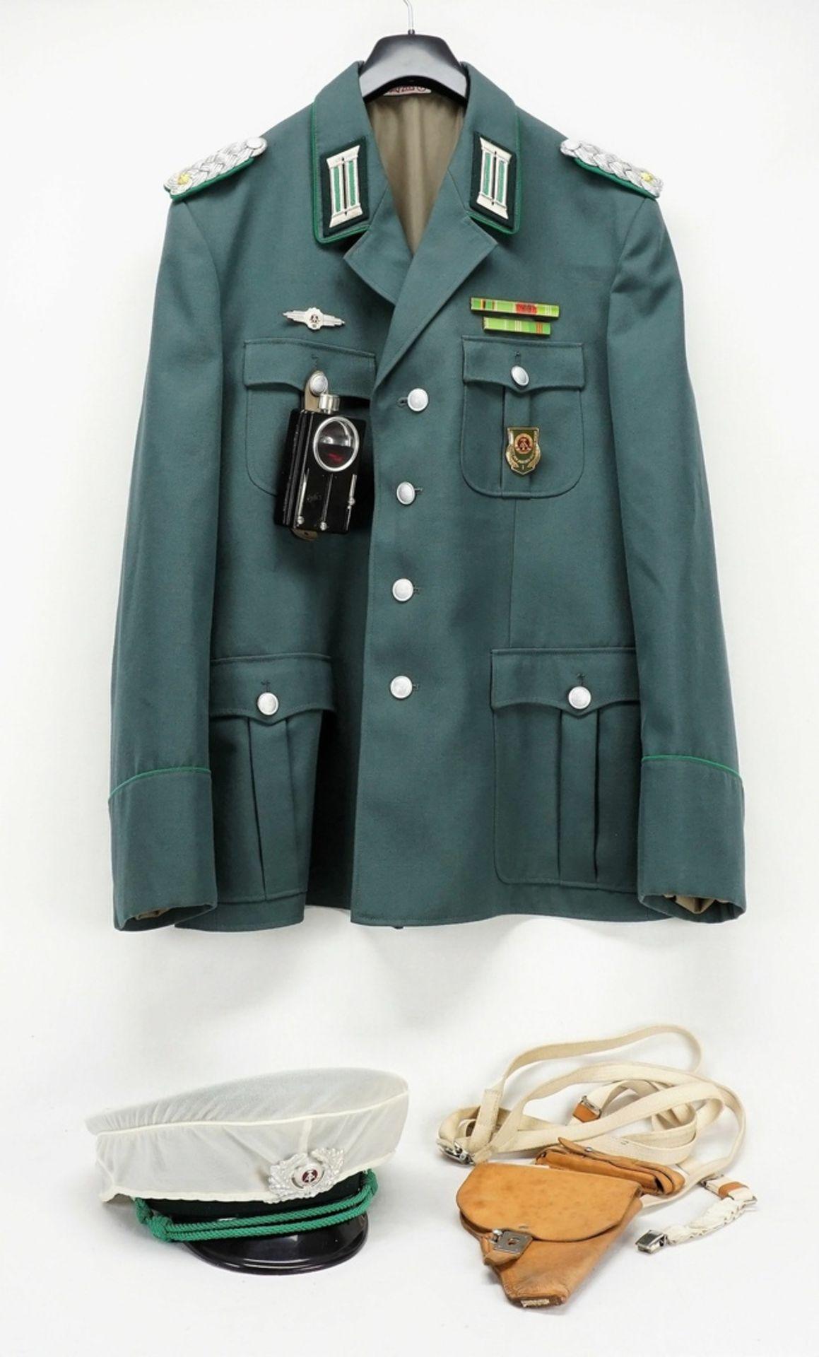 Uniformjacke DDR MDI Polizeioffizier mit Mütze und Zubehör