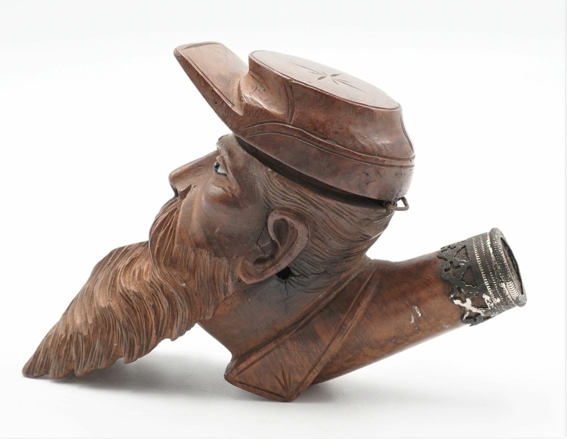 Pfeifenkopf in Form eines bärtigen Mannes mit Mütze, 19./20. Jh. - Bild 2 aus 4
