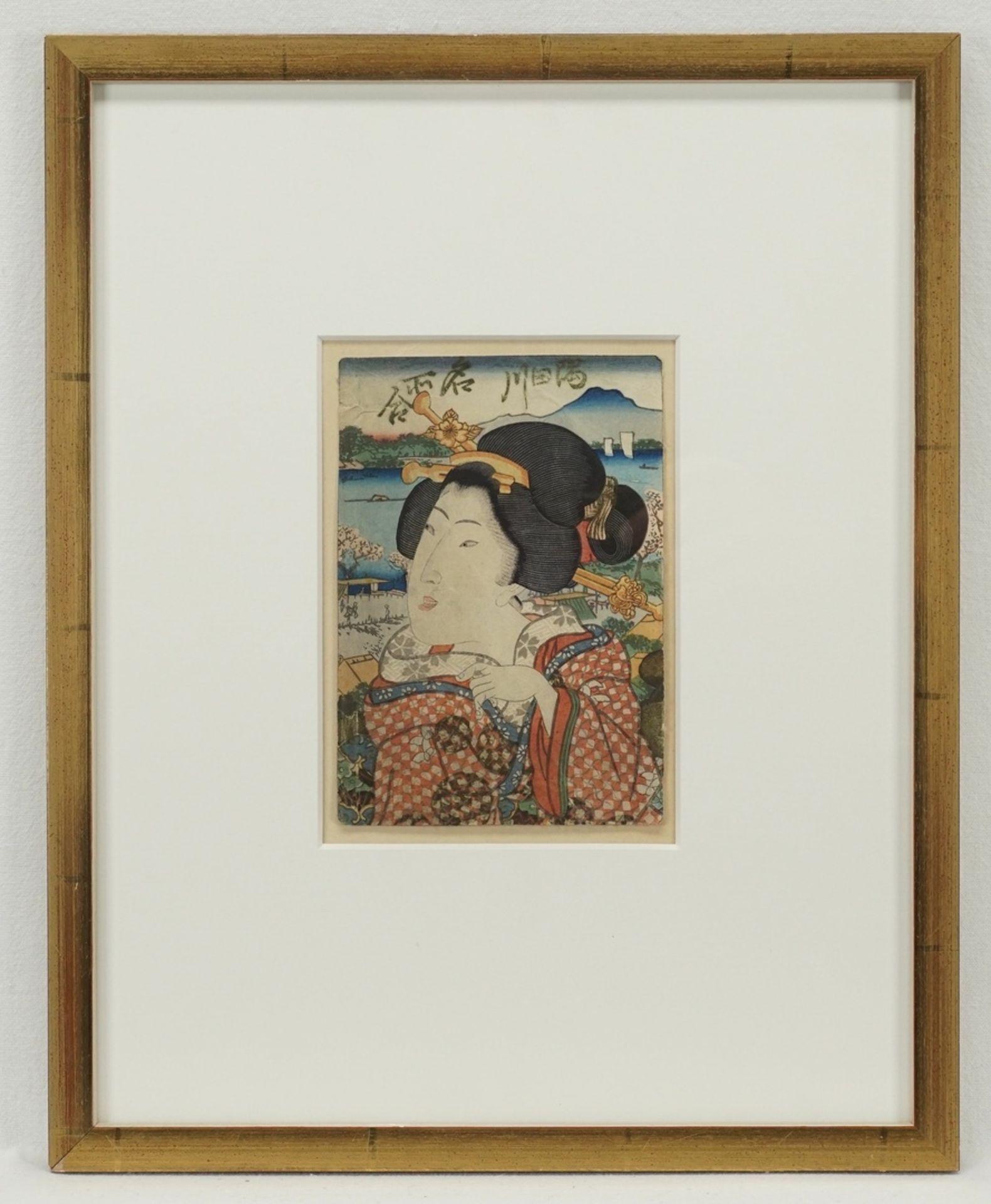 Unbekannter Künstler, Kleines Portrait einer Geisha - Bild 2 aus 2