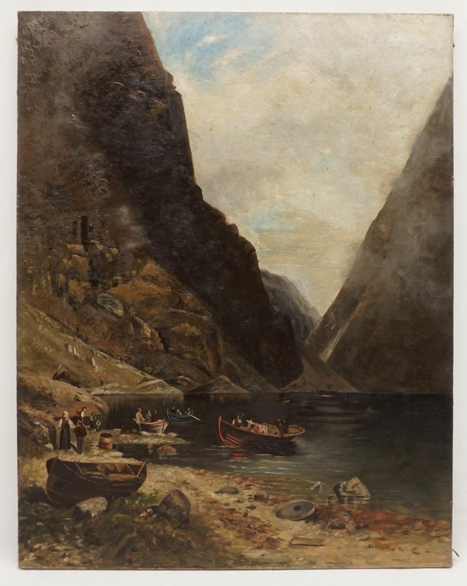 """Unbekannter Künstler, """"Fjord mit Ruderbooten und Segelschiff"""""""