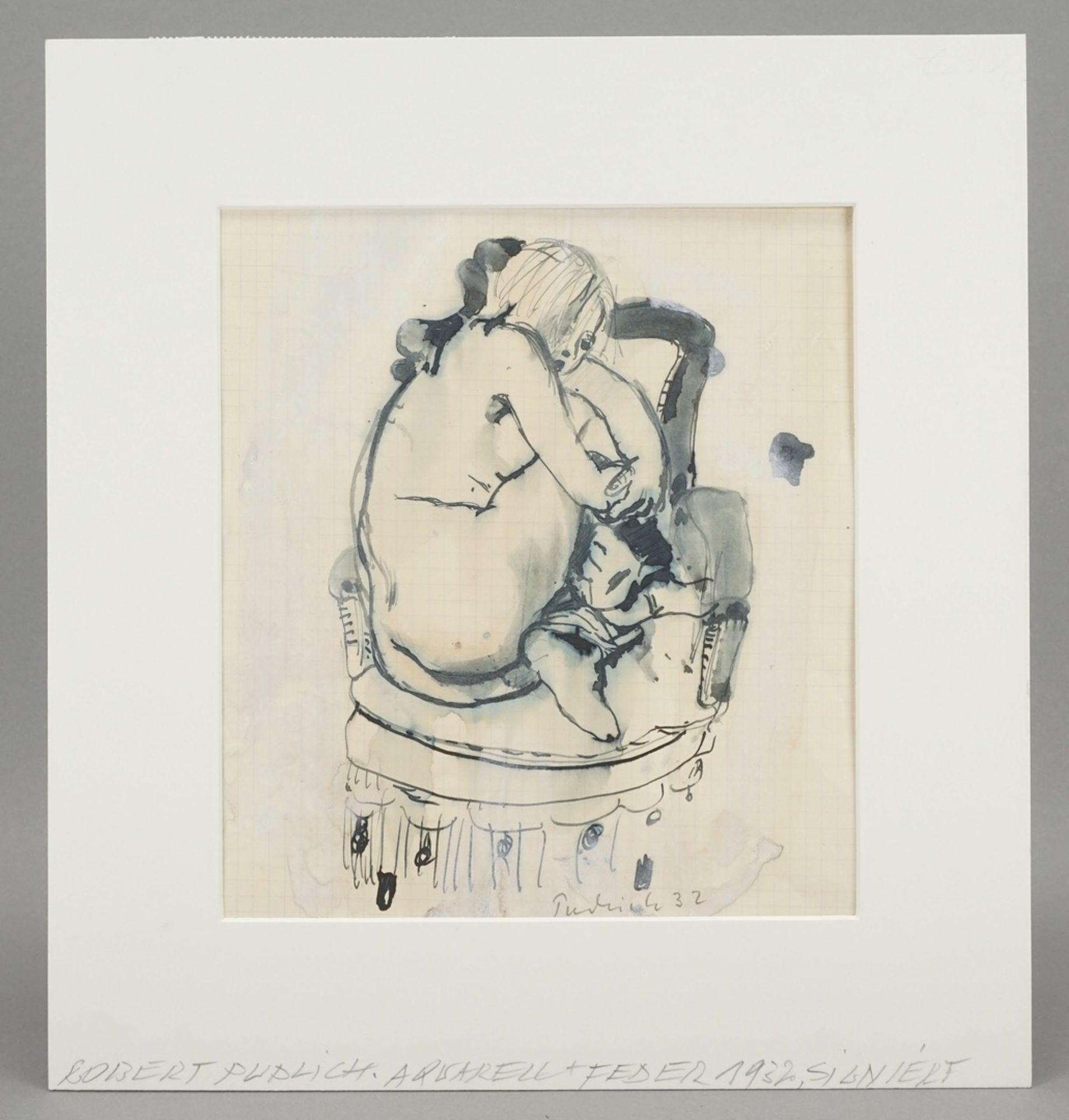 Robert Pudlich, Kauernder Frauenakt auf einem Fauteuil - Bild 2 aus 4
