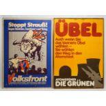 """Zwei Wahlplakate """"Die Grünen"""" und """"Volksfront"""""""