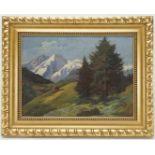 K. Wagner, Alpenlandschaft mit Berghütte