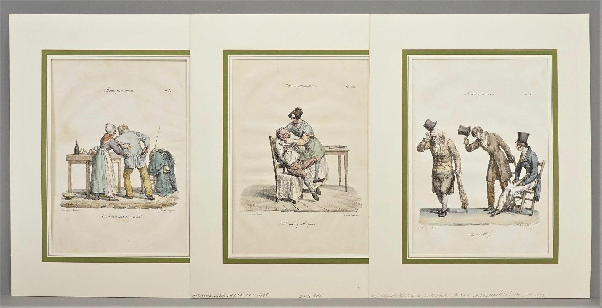 "Edme Jean Pigal, Drei Blatt aus ""Moeurs parisiennes"" (Pariser Sitten)"