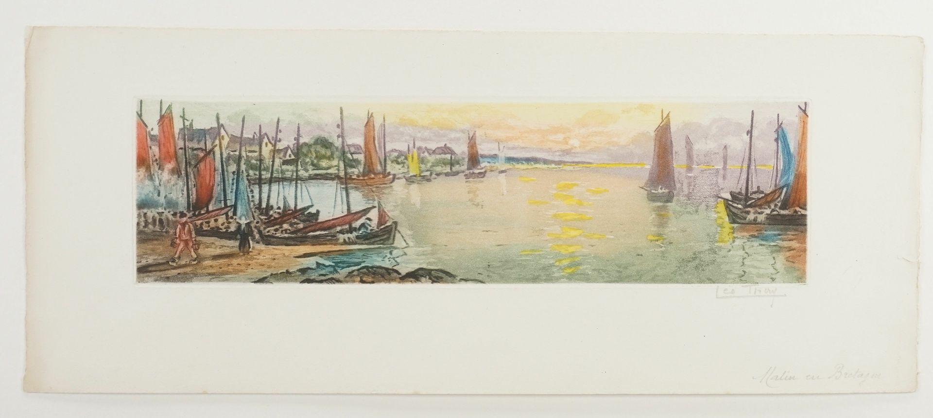 """Leo Thiery ( ), """"Matin en Bretagne"""" (Morgenstimmung in der Bretagne) - Bild 3 aus 4"""