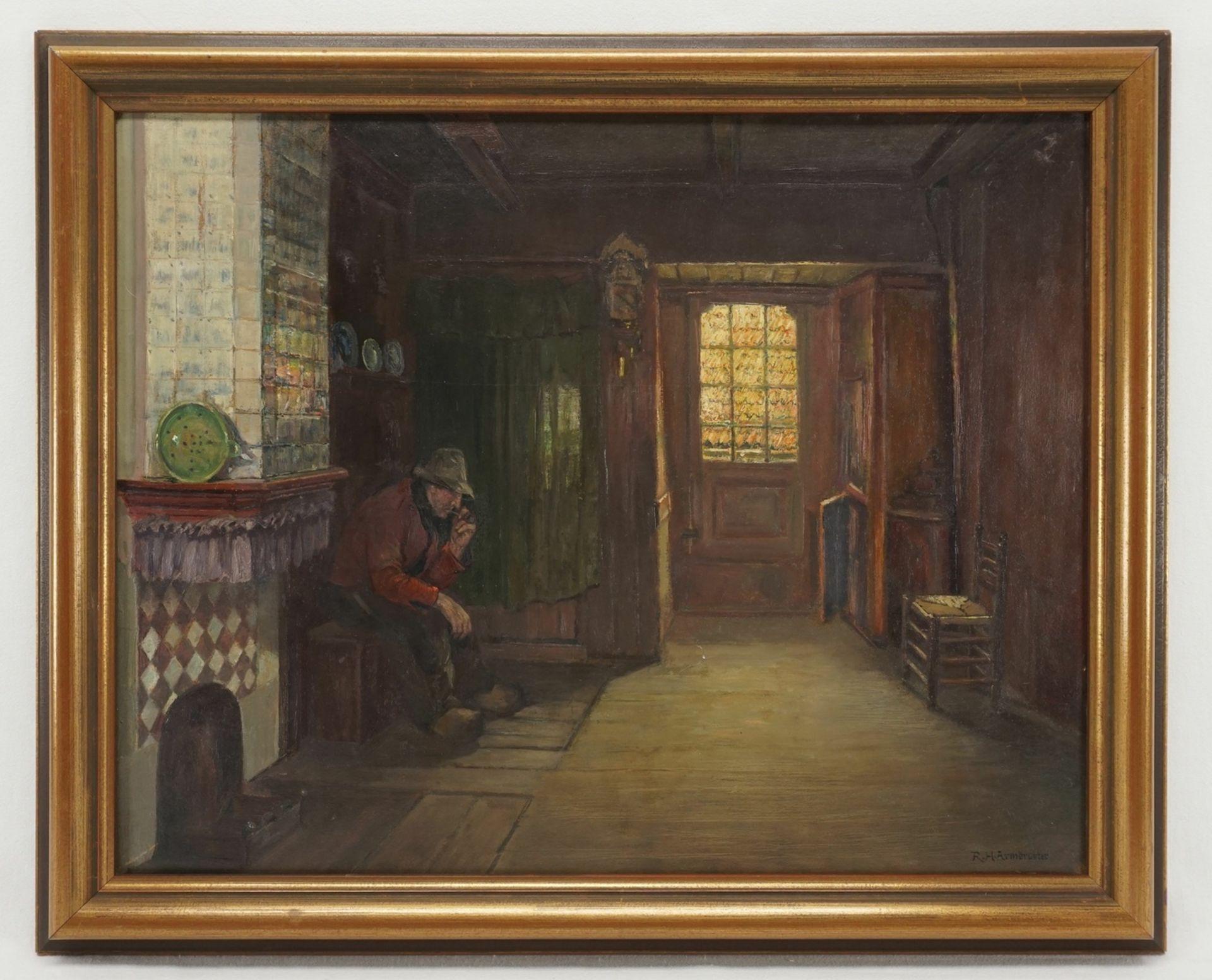 Rudolf Heinrich Armbruster, Holländisches Interieur mit Pfeiferaucher - Bild 2 aus 4