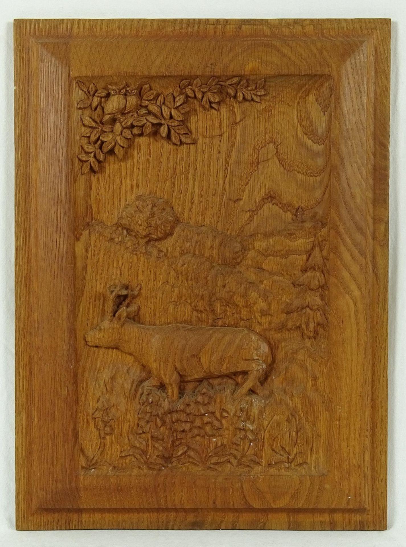 Vier jagdlich verschnitzte Holzbilder - Bild 5 aus 5
