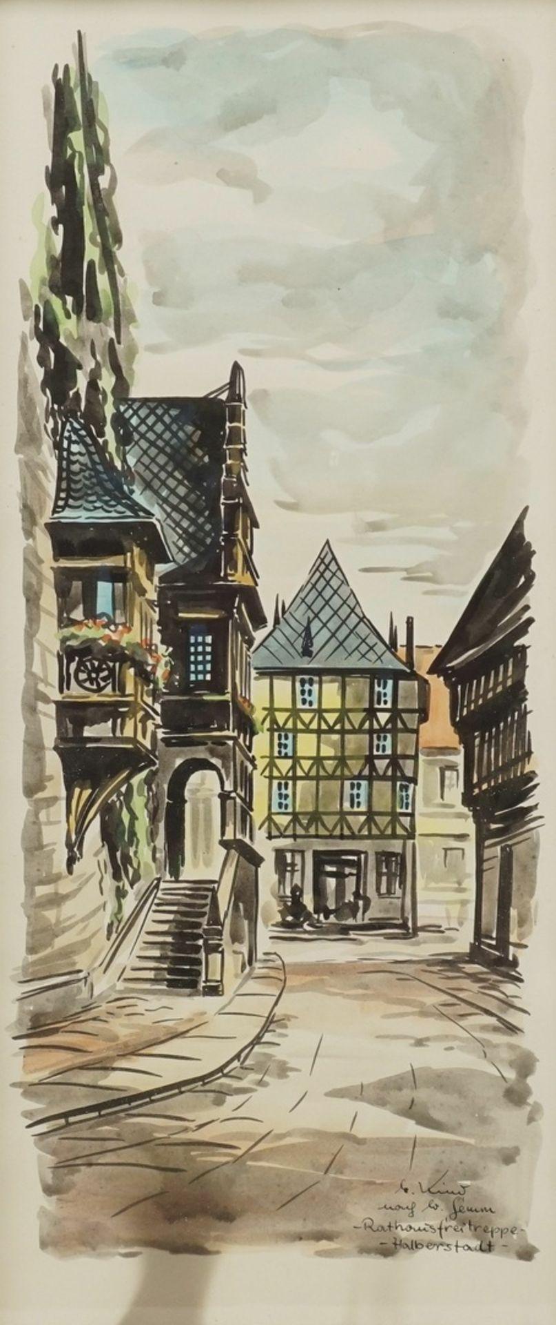 """M. oder G. Kind, """"Rathausfreitreppe - Halberstadt"""" (nach W. Gemm)"""