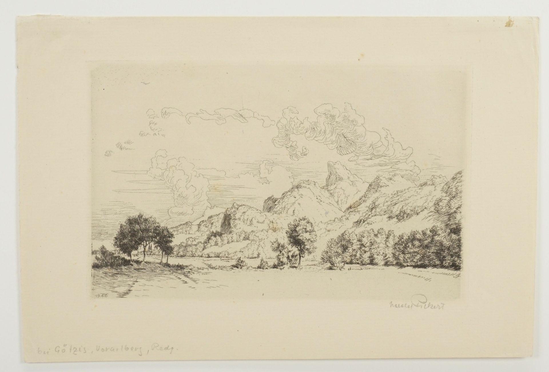 Harald Pickert, Gebirgige Landschaft mit Kirche - Bild 3 aus 4