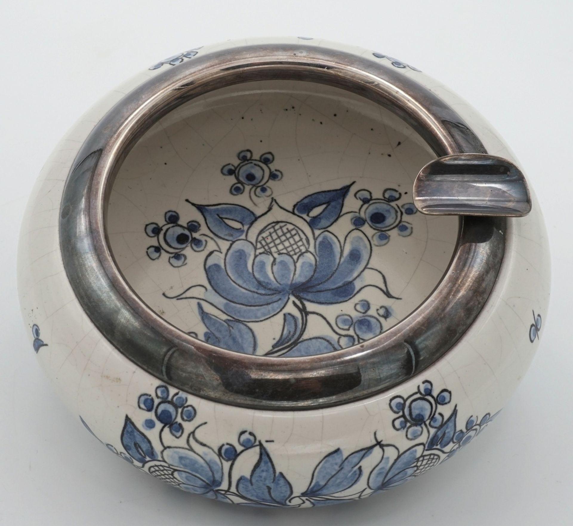 Keramik Aschenbecher mit Silbermontierung