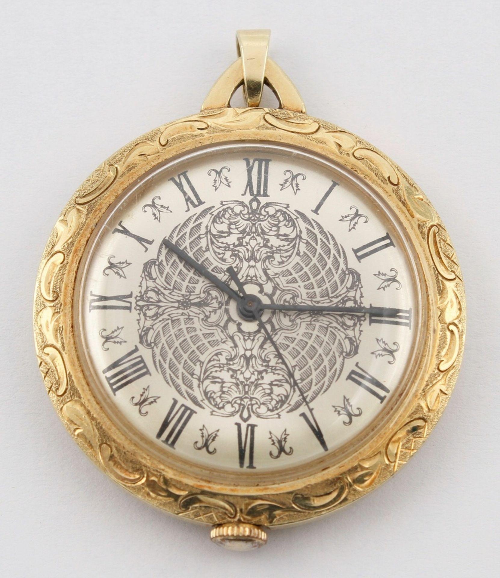 Kleine goldene Anhängeruhr / Damentaschenuhr, 2. Hälfte 20. Jh. - Bild 2 aus 5
