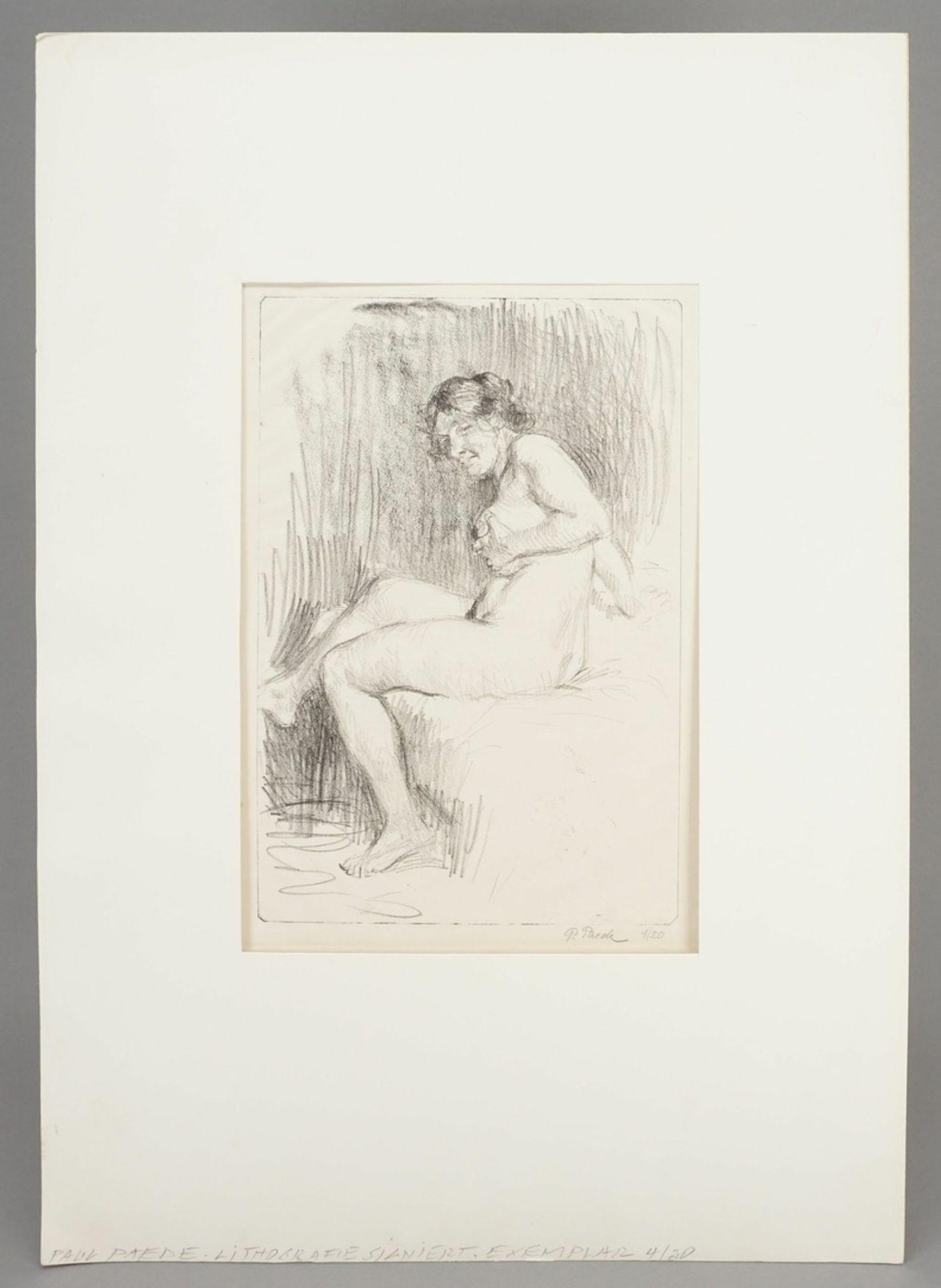 Paul Paede, Sitzender weiblicher Akt, die linke Hand an der Brust - Bild 2 aus 4