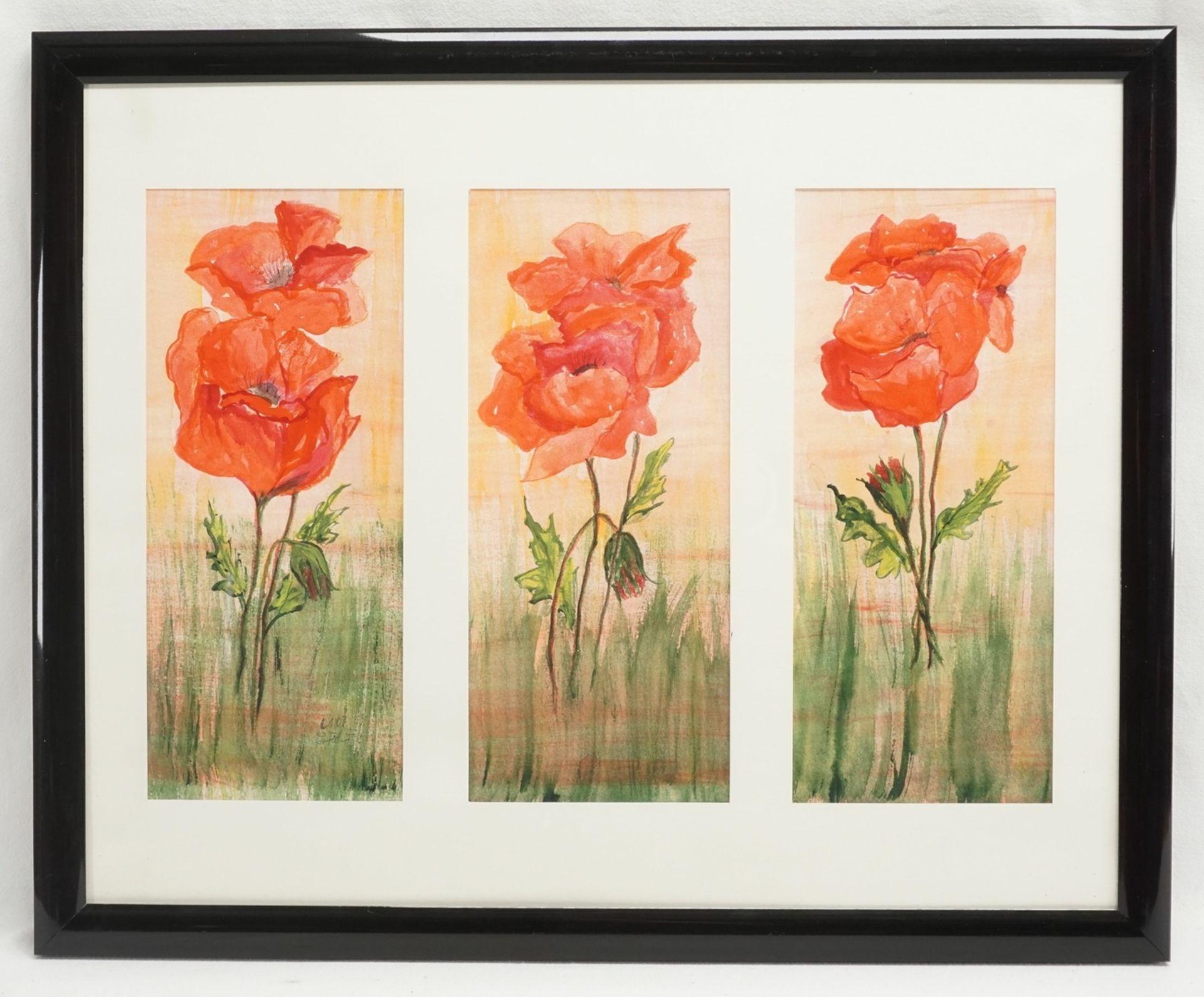 Ingetraut Fahnert, zwei Triptychon Aquarelle - Bild 2 aus 4