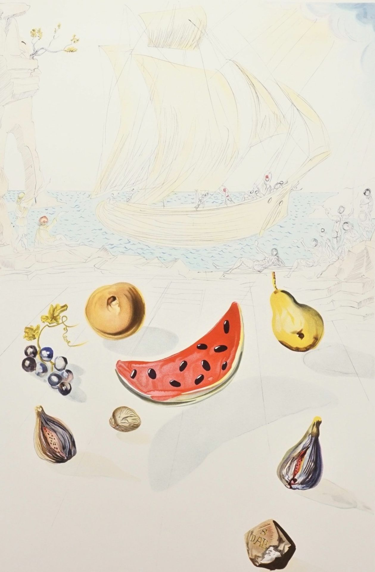 "Salvador Dalí, ""Ship and fruits"" (Schiff und Früchte)"